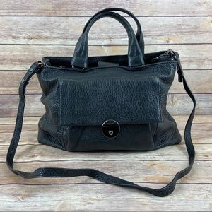 Milly Wythe Black Crossbody Leather Satchel Purse